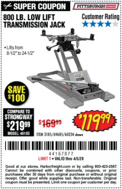Harbor Freight Coupon 800 LB. CAPACITY LOW LIFT TRANSMISSION JACK Lot No. 69685/60234 Expired: 6/30/20 - $119.99