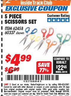 Harbor Freight ITC Coupon 5 PIECE SCISSORS SET Lot No. 62458/60337 Expired: 5/31/18 - $4.99