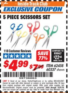 Harbor Freight ITC Coupon 5 PIECE SCISSORS SET Lot No. 62458/60337 Expired: 12/31/18 - $4.99