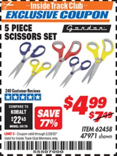 Harbor Freight ITC Coupon 5 PIECE SCISSORS SET Lot No. 62458/60337 Expired: 2/29/20 - $4.99