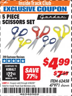 Harbor Freight ITC Coupon 5 PIECE SCISSORS SET Lot No. 62458/60337 Expired: 4/30/20 - $4.99