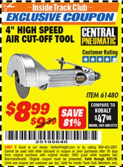 "Harbor Freight ITC Coupon 4"" HIGH SPEED AIR CUT-OFF TOOL Lot No. 61480 Expired: 8/31/18 - $8.99"