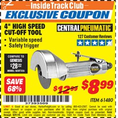 "Harbor Freight ITC Coupon 4"" HIGH SPEED AIR CUT-OFF TOOL Lot No. 61480 Expired: 8/31/19 - $8.99"