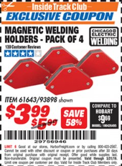Harbor Freight ITC Coupon 4 PIECE MAGNETIC WELDING HOLDERS Lot No. 61643/93898 Expired: 3/31/19 - $3.99