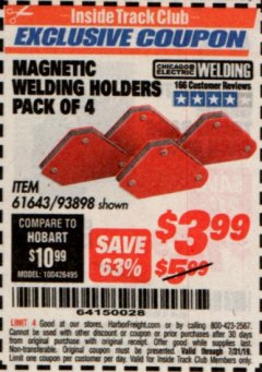 Harbor Freight ITC Coupon 4 PIECE MAGNETIC WELDING HOLDERS Lot No. 61643/93898 Expired: 7/31/19 - $3.99