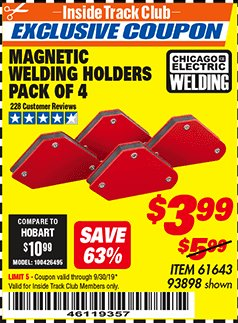 Harbor Freight ITC Coupon 4 PIECE MAGNETIC WELDING HOLDERS Lot No. 61643/93898 Expired: 9/30/19 - $3.99