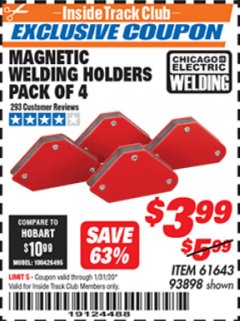 Harbor Freight ITC Coupon 4 PIECE MAGNETIC WELDING HOLDERS Lot No. 61643/93898 Expired: 1/31/20 - $3.99