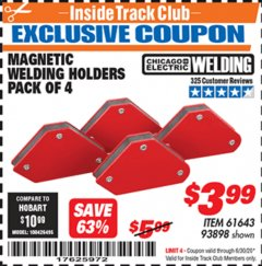 Harbor Freight ITC Coupon 4 PIECE MAGNETIC WELDING HOLDERS Lot No. 61643/93898 Expired: 6/30/20 - $3.99
