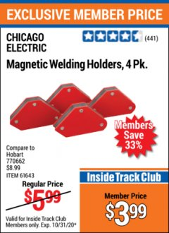 Harbor Freight ITC Coupon 4 PIECE MAGNETIC WELDING HOLDERS Lot No. 61643/93898 Valid: 10/3/20 - 10/31/20 - $3.99