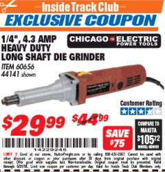 "Harbor Freight ITC Coupon 1/4"" HEAVY DUTY LONG SHAFT DIE GRINDER Lot No. 60656/44141 Expired: 5/31/18 - $29.99"
