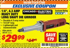 "Harbor Freight ITC Coupon 1/4"" HEAVY DUTY LONG SHAFT DIE GRINDER Lot No. 60656/44141 Expired: 7/31/18 - $29.99"