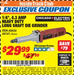 "Harbor Freight ITC Coupon 1/4"" HEAVY DUTY LONG SHAFT DIE GRINDER Lot No. 60656/44141 Expired: 3/31/19 - $29.99"