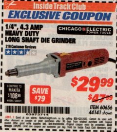 "Harbor Freight ITC Coupon 1/4"" HEAVY DUTY LONG SHAFT DIE GRINDER Lot No. 60656/44141 Expired: 7/31/19 - $29.99"