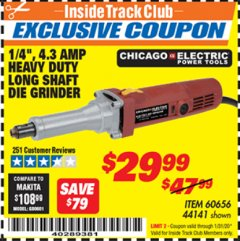 "Harbor Freight ITC Coupon 1/4"" HEAVY DUTY LONG SHAFT DIE GRINDER Lot No. 60656/44141 Expired: 1/31/20 - $29.99"