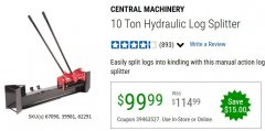 Harbor Freight Coupon 10 TON HYDRAULIC LOG SPLITTER Lot No. 62291/39981/67090 EXPIRES: 6/30/20 - $99.99