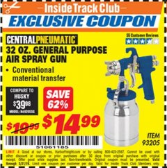 Harbor Freight ITC Coupon 32 OZ. GENERAL PURPOSE AIR SPRAY GUN Lot No. 93205 Expired: 5/31/19 - $14.99