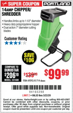 Harbor Freight Coupon 14 AMP ELECTRIC SHREDDER Lot No. 61714/69293 Expired: 3/22/20 - $99.99