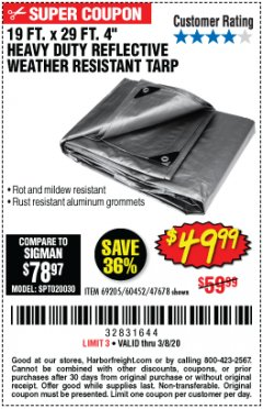 "Harbor Freight Coupon 19 FT. X 29 FT. 4"" HEAVY DUTY REFLECTIVE ALL PURPOSE TARP Lot No. 47678/60452/69205 Expired: 2/8/20 - $49.99"