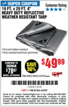 "Harbor Freight Coupon 19 FT. X 29 FT. 4"" HEAVY DUTY REFLECTIVE ALL PURPOSE TARP Lot No. 47678/60452/69205 Valid Thru: 6/30/20 - $49.99"