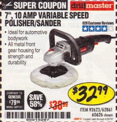 "Harbor Freight Coupon 7"" VARIABLE SPEED POLISHER/SANDER Lot No. 62861/92623/60626 Expired: 6/30/19 - $32.99"