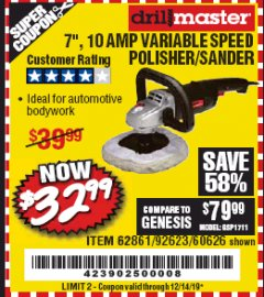 "Harbor Freight Coupon 7"" VARIABLE SPEED POLISHER/SANDER Lot No. 62861/92623/60626 Expired: 12/14/19 - $32.99"