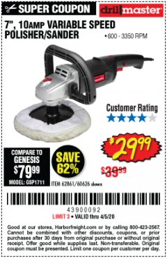 "Harbor Freight Coupon 7"" VARIABLE SPEED POLISHER/SANDER Lot No. 62861/92623/60626 Expired: 6/30/20 - $29.99"
