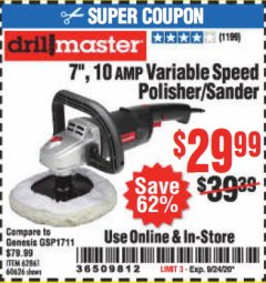 "Harbor Freight Coupon 7"" VARIABLE SPEED POLISHER/SANDER Lot No. 62861/92623/60626 Expired: 9/24/20 - $29.99"