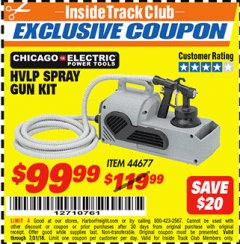 Harbor Freight ITC Coupon HVLP SPRAY GUN KIT Lot No. 44677 Expired: 7/31/18 - $99.99