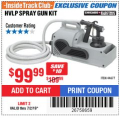 Harbor Freight ITC Coupon HVLP SPRAY GUN KIT Lot No. 44677 Expired: 7/2/19 - $99.99