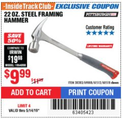 Harbor Freight ITC Coupon STEEL PROFESSIONAL HAMMERS Lot No. 60517/38383/61512/60518 Expired: 5/14/19 - $9.99