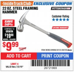 Harbor Freight ITC Coupon STEEL PROFESSIONAL HAMMERS Lot No. 60517/38383/61512/60518 Expired: 7/2/19 - $9.99
