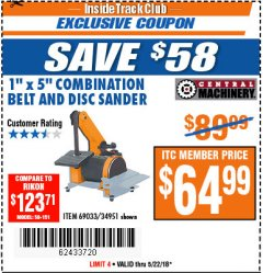 "Harbor Freight ITC Coupon 1"" X 5"" COMBINATION BELT AND DISC SANDER Lot No. 34951/69033 Expired: 5/22/18 - $64.99"