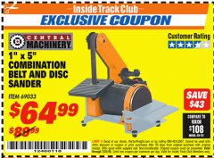 "Harbor Freight ITC Coupon 1"" X 5"" COMBINATION BELT AND DISC SANDER Lot No. 34951/69033 Expired: 7/31/18 - $64.99"