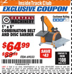 "Harbor Freight ITC Coupon 1"" X 5"" COMBINATION BELT AND DISC SANDER Lot No. 34951/69033 Expired: 9/30/18 - $64.99"