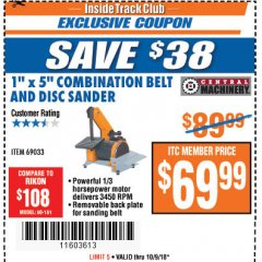 "Harbor Freight ITC Coupon 1"" X 5"" COMBINATION BELT AND DISC SANDER Lot No. 34951/69033 Expired: 10/9/18 - $69.99"