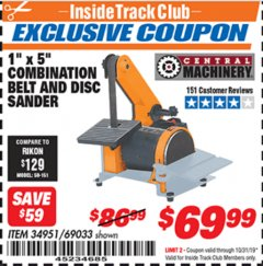 "Harbor Freight ITC Coupon 1"" X 5"" COMBINATION BELT AND DISC SANDER Lot No. 34951/69033 Expired: 10/31/19 - $69.99"