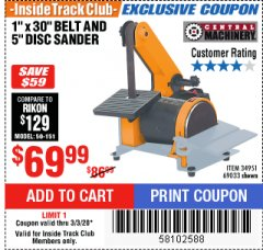"Harbor Freight ITC Coupon 1"" X 5"" COMBINATION BELT AND DISC SANDER Lot No. 34951/69033 Expired: 3/3/20 - $69.99"