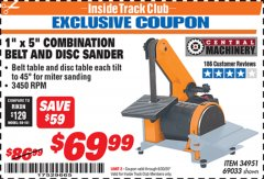 "Harbor Freight ITC Coupon 1"" X 5"" COMBINATION BELT AND DISC SANDER Lot No. 34951/69033 Valid Thru: 6/30/20 - $69.99"