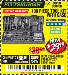 Harbor Freight Coupon 130 PIECE TOOL KIT WITH CASE Lot No. 64263/68998/63091/63248/64080 Expired: 11/18/18 - $29.99