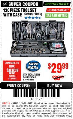 Harbor Freight ITC Coupon 130 PIECE TOOL KIT WITH CASE Lot No. 64263/68998/63091/63248/64080 Expired: 1/10/19 - $29.99