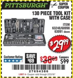 Harbor Freight Coupon 130 PIECE TOOL KIT WITH CASE Lot No. 64263/68998/63091/63248/64080 Expired: 2/23/18 - $29.99