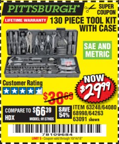 Harbor Freight Coupon 130 PIECE TOOL KIT WITH CASE Lot No. 64263/68998/63091/63248/64080 Expired: 10/14/18 - $29.99
