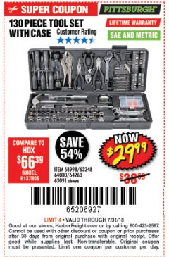 Harbor Freight Coupon 130 PIECE TOOL KIT WITH CASE Lot No. 64263/68998/63091/63248/64080 Expired: 7/31/18 - $29.99