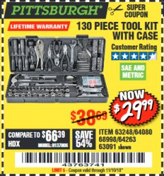 Harbor Freight Coupon 130 PIECE TOOL KIT WITH CASE Lot No. 64263/68998/63091/63248/64080 Expired: 11/10/18 - $29.99