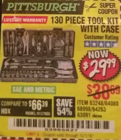 Harbor Freight Coupon 130 PIECE TOOL KIT WITH CASE Lot No. 64263/68998/63091/63248/64080 Expired: 10/1/18 - $29.99