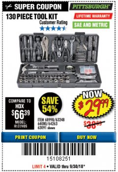 Harbor Freight Coupon 130 PIECE TOOL KIT WITH CASE Lot No. 64263/68998/63091/63248/64080 Expired: 9/30/18 - $29.99