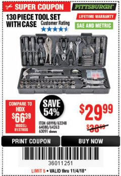 Harbor Freight Coupon 130 PIECE TOOL KIT WITH CASE Lot No. 64263/68998/63091/63248/64080 Expired: 11/4/18 - $29.99