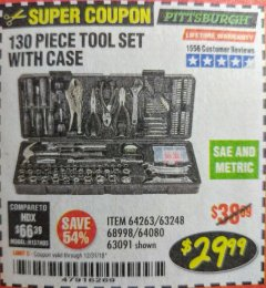 Harbor Freight Coupon 130 PIECE TOOL KIT WITH CASE Lot No. 64263/68998/63091/63248/64080 Expired: 12/31/18 - $29.99