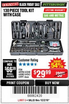 Harbor Freight Coupon 130 PIECE TOOL KIT WITH CASE Lot No. 64263/68998/63091/63248/64080 Expired: 12/2/18 - $29.99