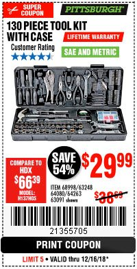 Harbor Freight Coupon 130 PIECE TOOL KIT WITH CASE Lot No. 64263/68998/63091/63248/64080 Expired: 12/16/18 - $29.99
